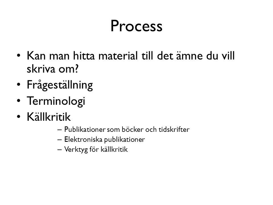 Process Kan man hitta material till det ämne du vill skriva om
