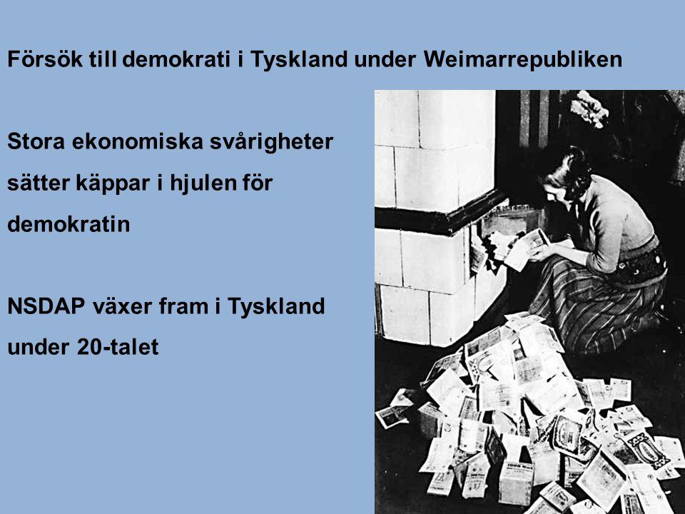 Försök till demokrati i Tyskland under Weimarrepubliken