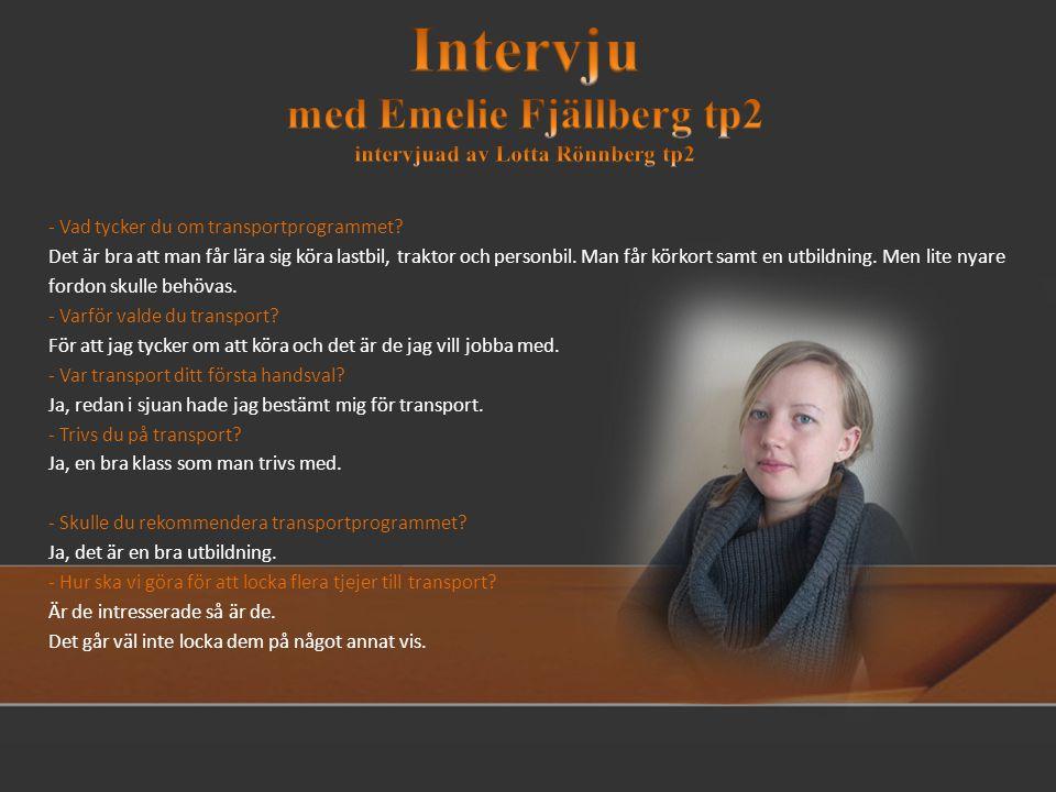 Intervju med Emelie Fjällberg tp2 intervjuad av Lotta Rönnberg tp2