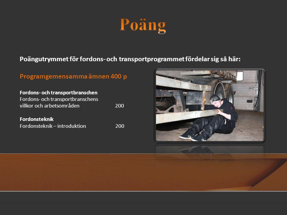 Poäng Poängutrymmet för fordons- och transportprogrammet fördelar sig så här: Programgemensamma ämnen 400 p.