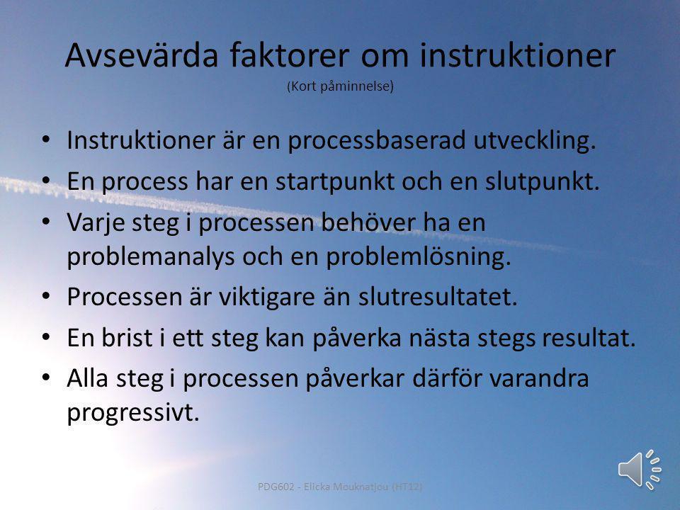 Avsevärda faktorer om instruktioner (Kort påminnelse)