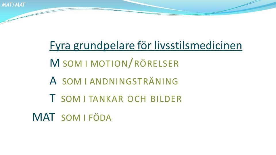 MAT/MAT Fyra grundpelare för livsstilsmedicinen M som i motion/rörelser A som i andningsträning T som i tankar och bilder