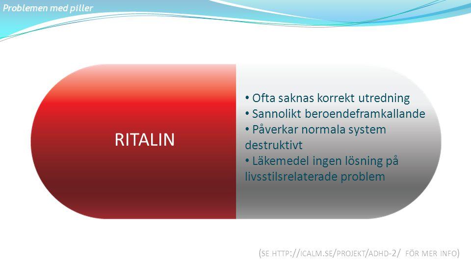 RITALIN Ofta saknas korrekt utredning Sannolikt beroendeframkallande