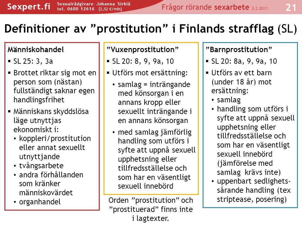 Definitioner av prostitution i Finlands strafflag (SL)