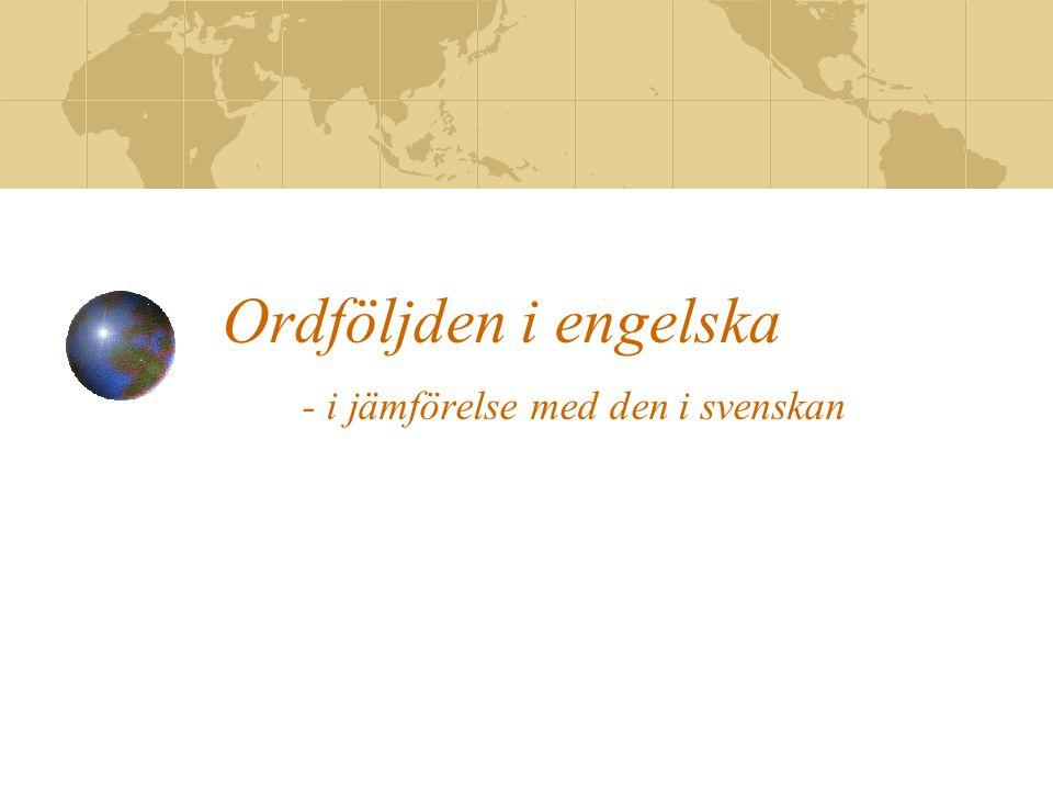 Ordföljden i engelska - i jämförelse med den i svenskan