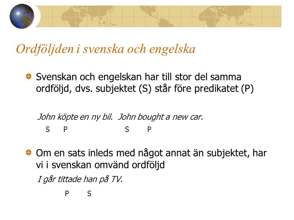 Ordföljden i svenska och engelska
