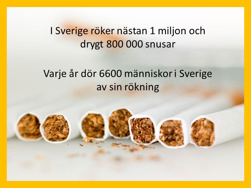 I Sverige röker nästan 1 miljon och drygt 800 000 snusar