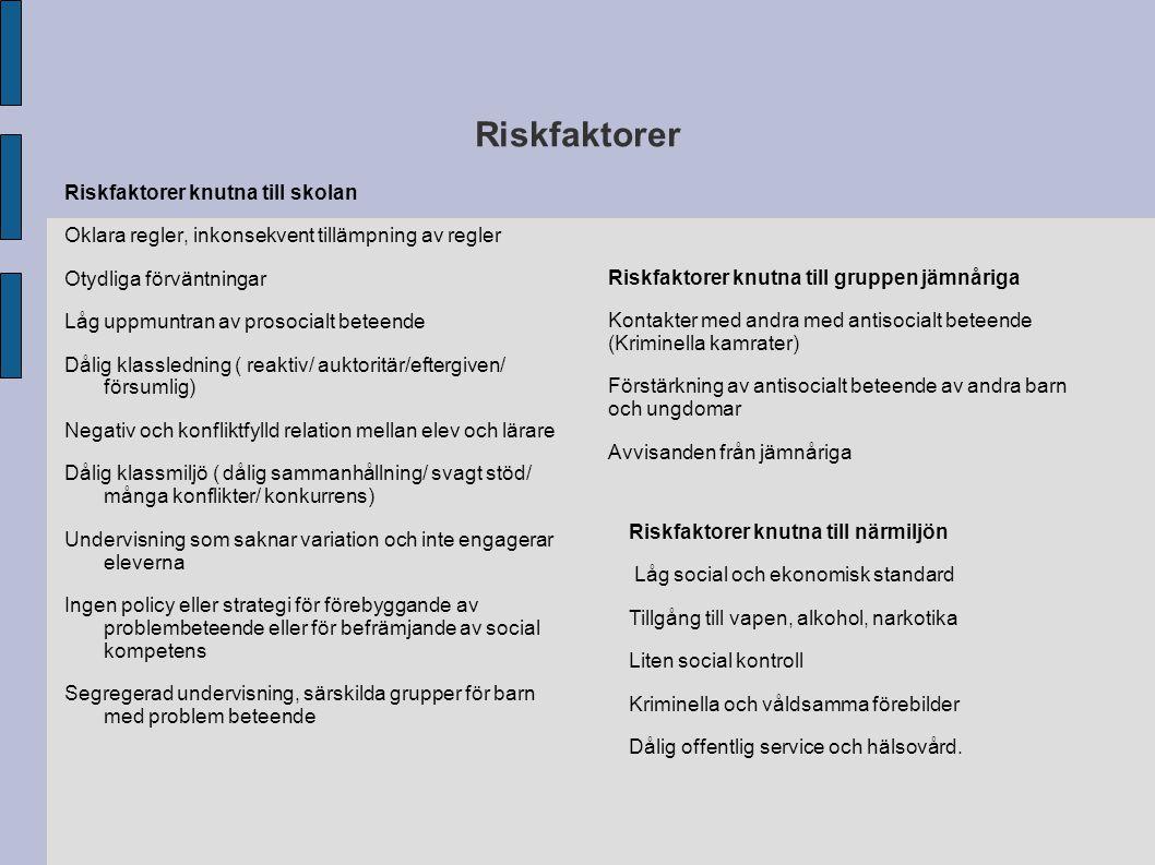 Riskfaktorer Riskfaktorer knutna till skolan