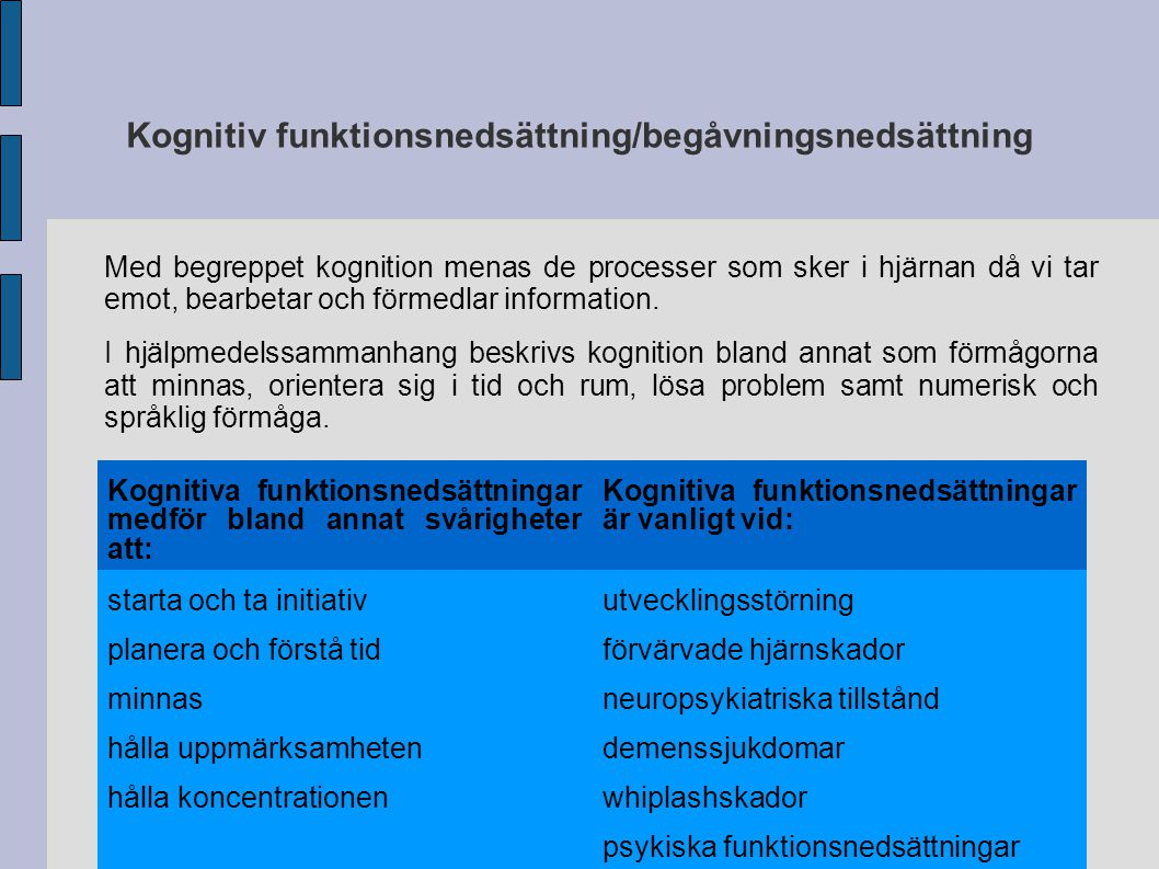 Kognitiv funktionsnedsättning/begåvningsnedsättning
