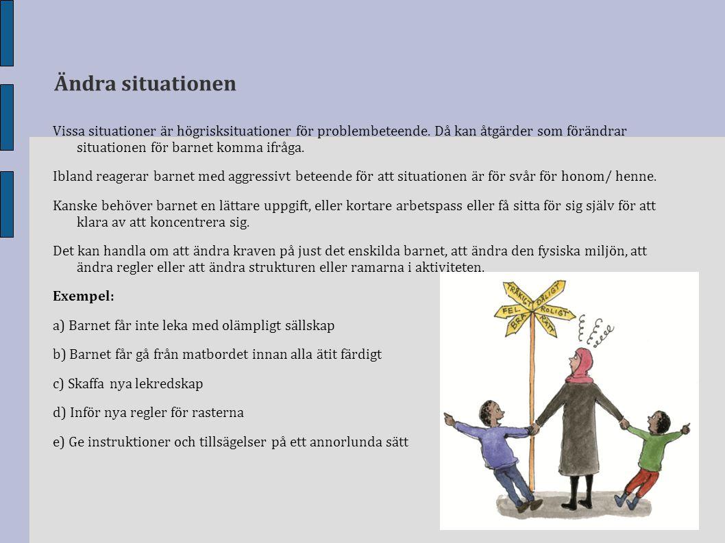 Ändra situationen Vissa situationer är högrisksituationer för problembeteende. Då kan åtgärder som förändrar situationen för barnet komma ifråga.