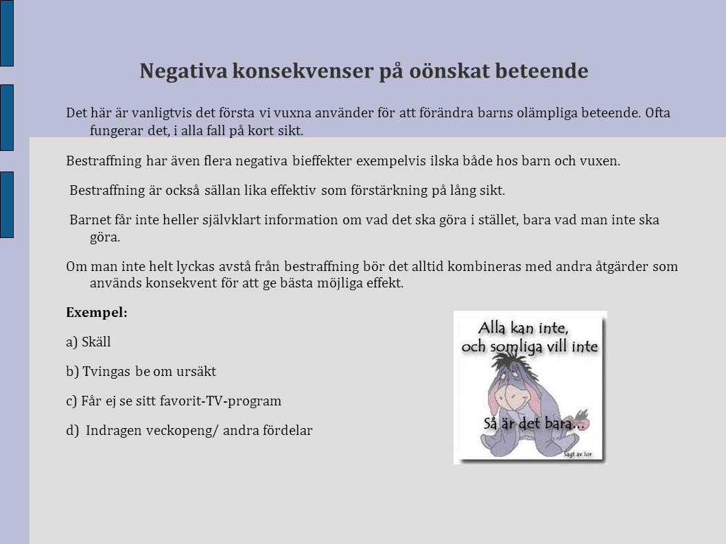 Negativa konsekvenser på oönskat beteende