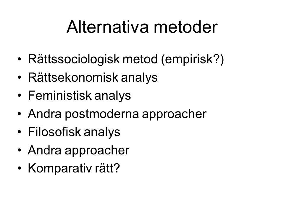 Alternativa metoder Rättssociologisk metod (empirisk )