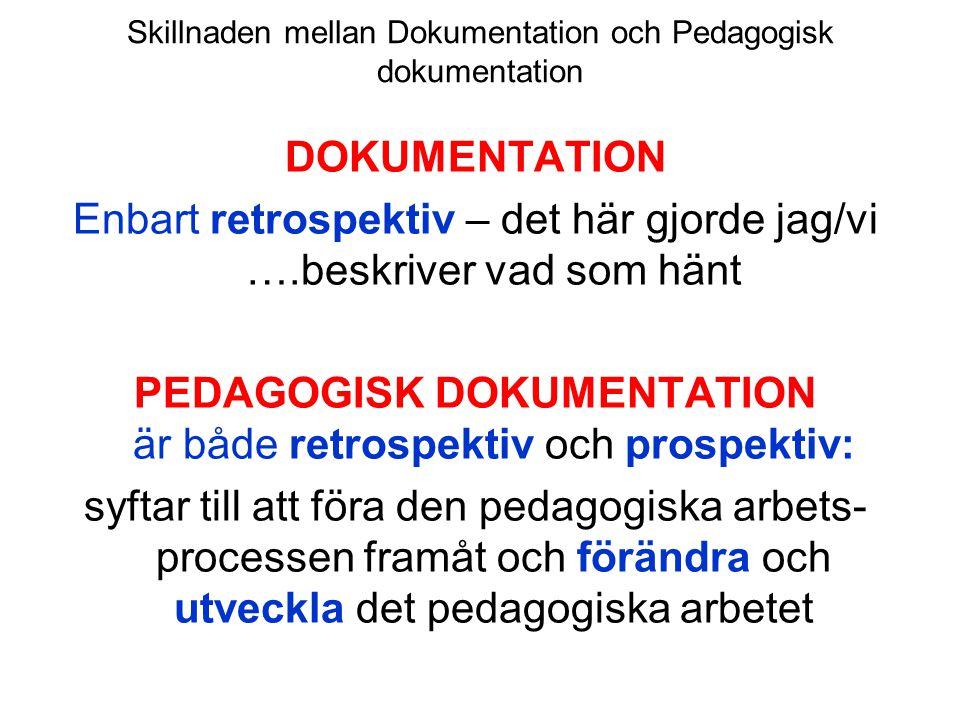 Skillnaden mellan Dokumentation och Pedagogisk dokumentation