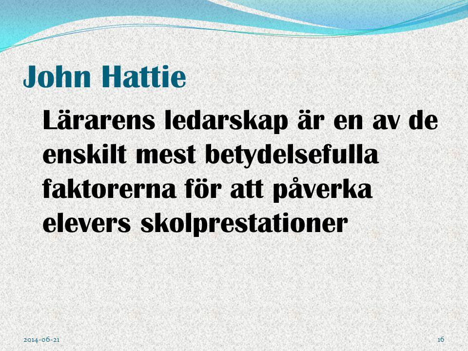 John Hattie Lärarens ledarskap är en av de enskilt mest betydelsefulla faktorerna för att påverka elevers skolprestationer.