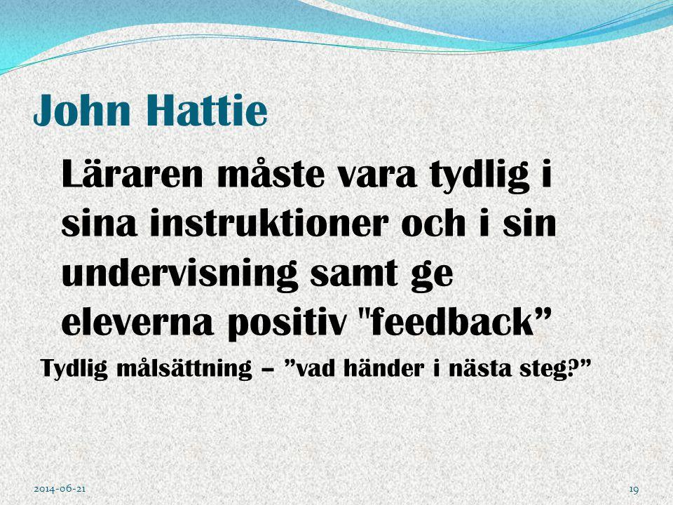 John Hattie Tydlig målsättning – vad händer i nästa steg