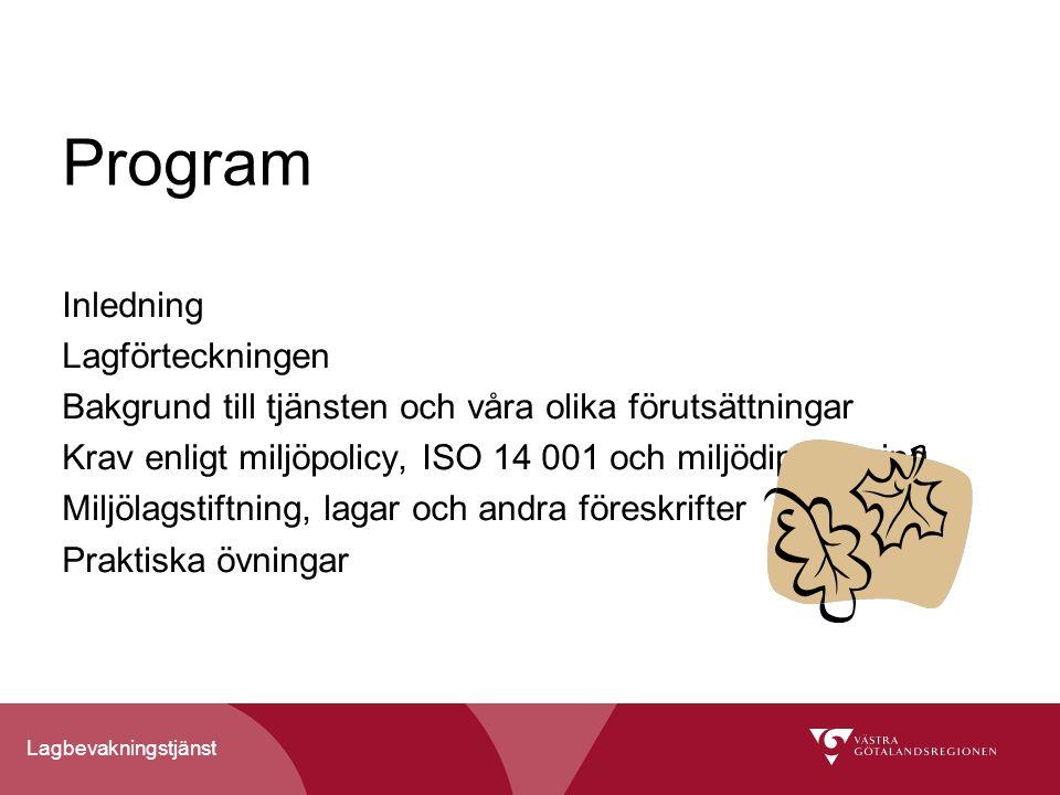 Program Inledning Lagförteckningen