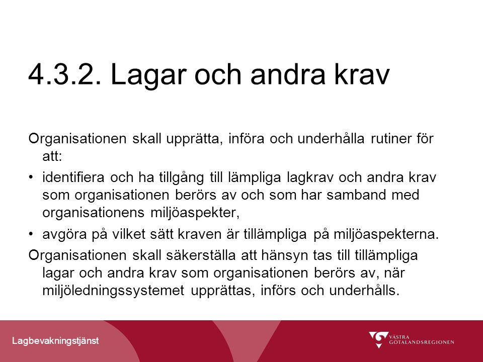 4.3.2. Lagar och andra krav Organisationen skall upprätta, införa och underhålla rutiner för att: