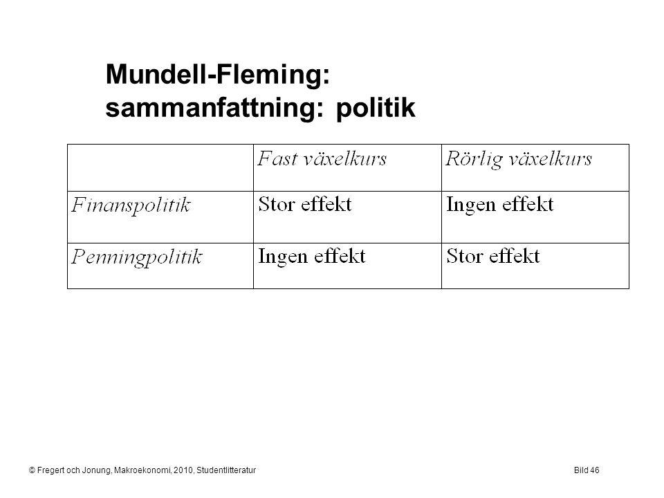 Mundell-Fleming: sammanfattning: politik