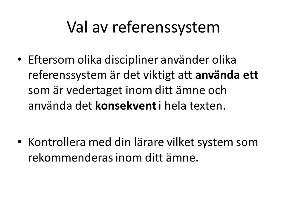 Val av referenssystem