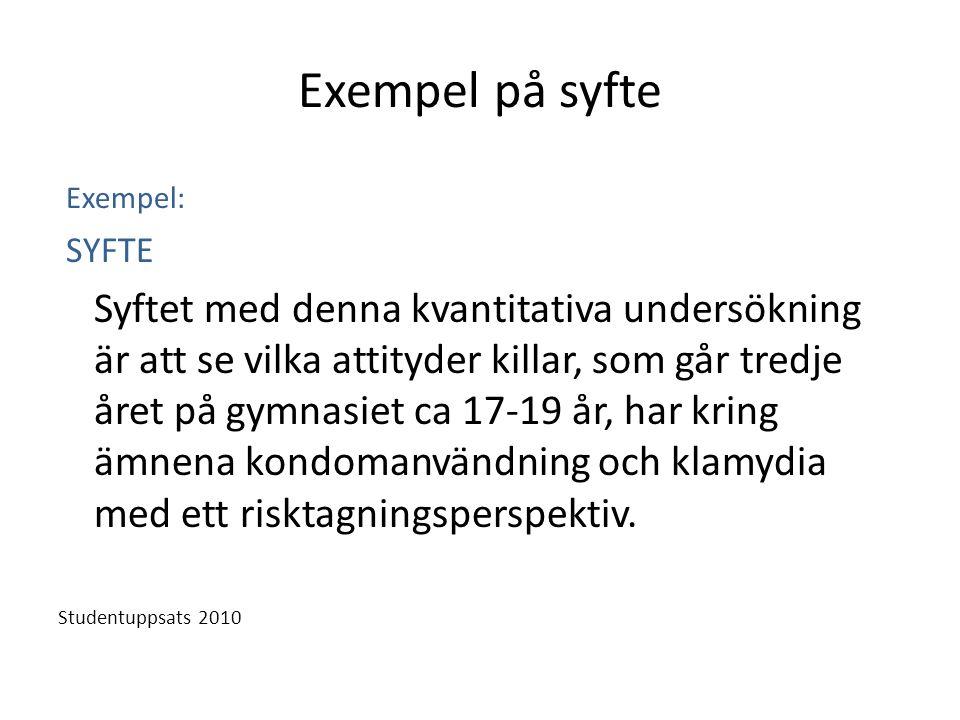 Exempel på syfte Exempel: SYFTE.