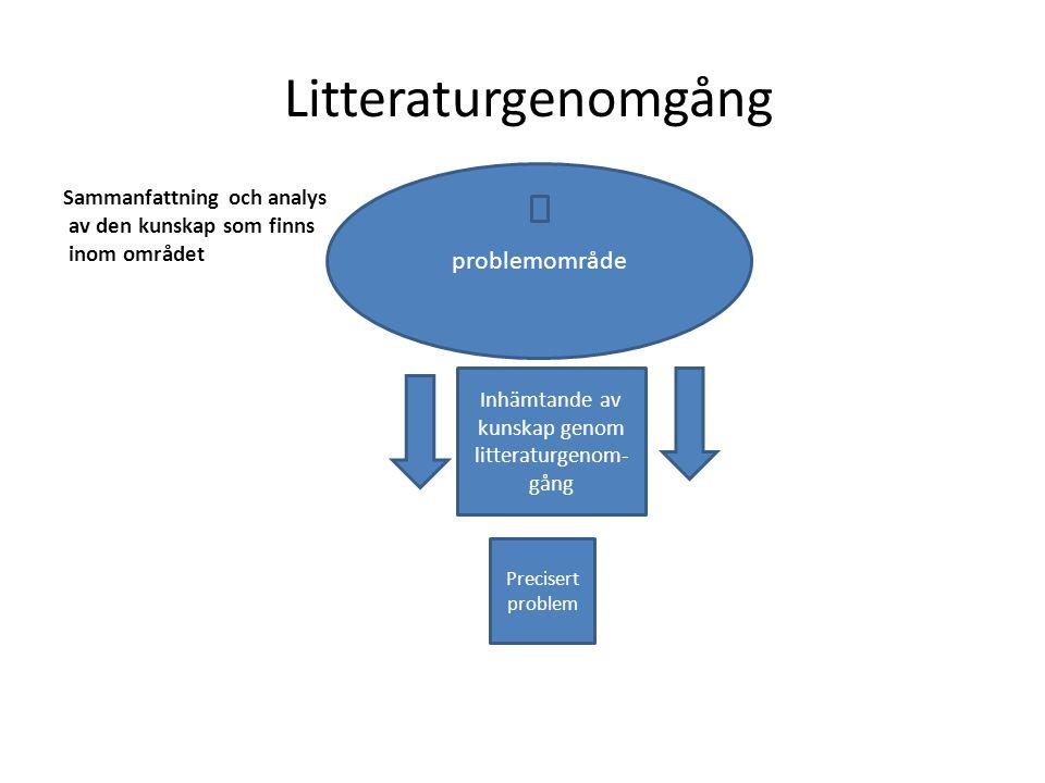 Inhämtande av kunskap genom litteraturgenom-gång