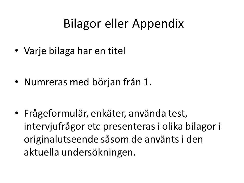 Bilagor eller Appendix