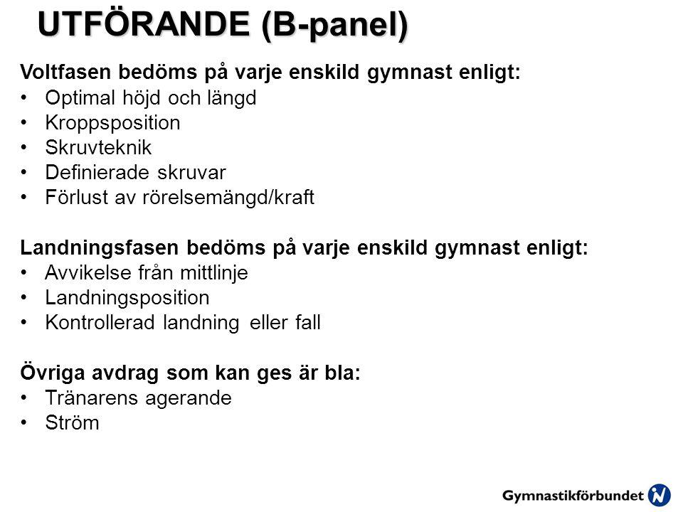 UTFÖRANDE (B-panel) Voltfasen bedöms på varje enskild gymnast enligt: