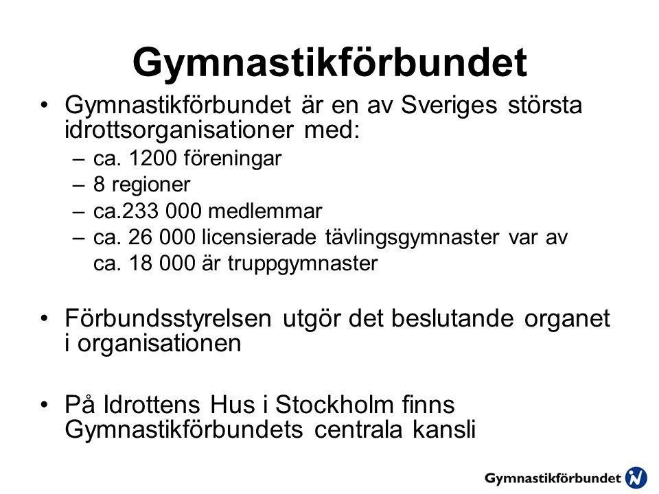 Gymnastikförbundet Gymnastikförbundet är en av Sveriges största idrottsorganisationer med: ca. 1200 föreningar.