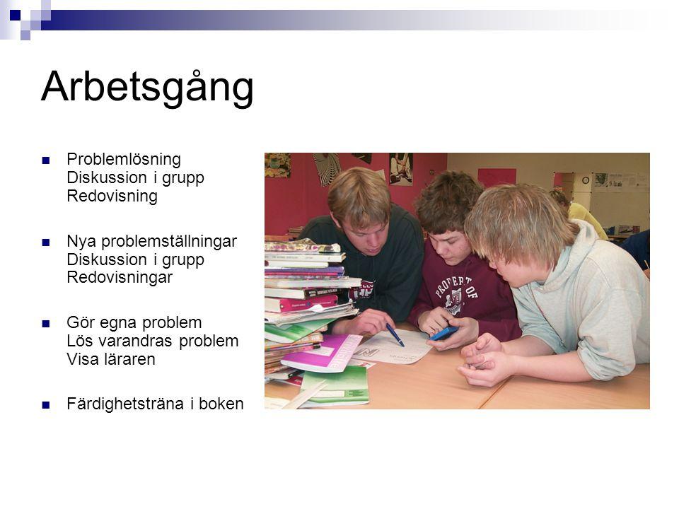 Arbetsgång Problemlösning Diskussion i grupp Redovisning