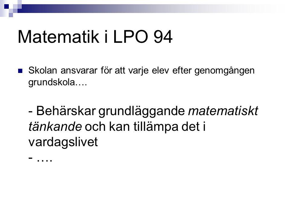 Matematik i LPO 94