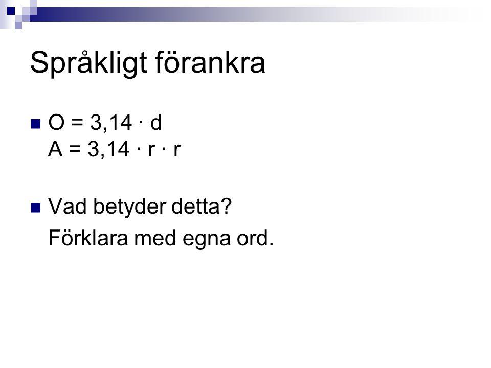 Språkligt förankra O = 3,14 · d A = 3,14 · r · r Vad betyder detta