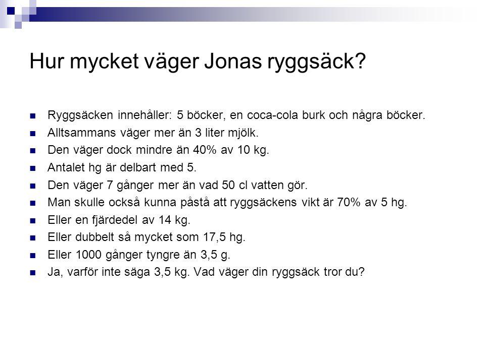 Hur mycket väger Jonas ryggsäck