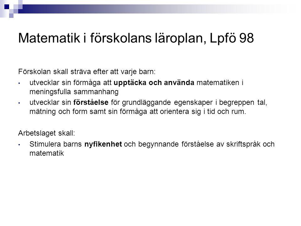 Matematik i förskolans läroplan, Lpfö 98