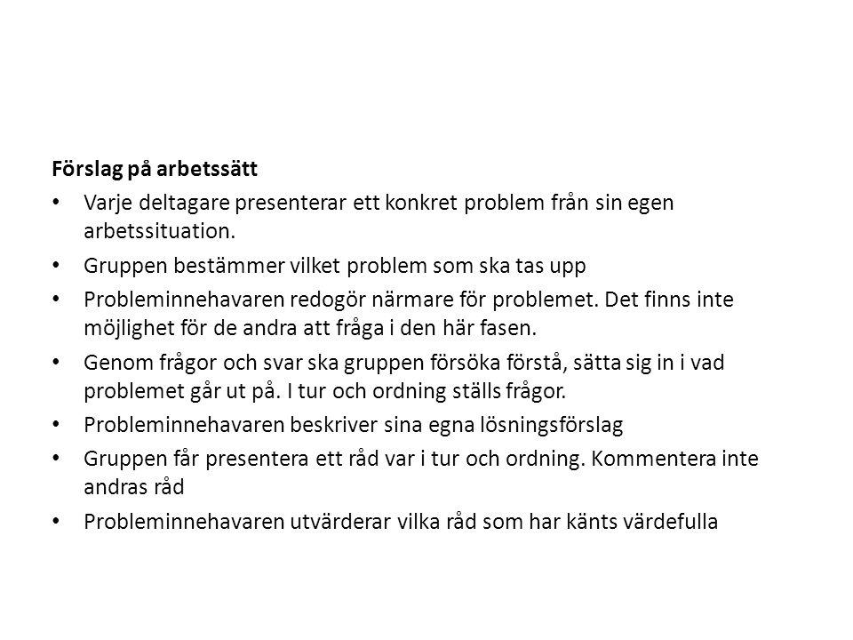 Förslag på arbetssätt Varje deltagare presenterar ett konkret problem från sin egen arbetssituation.