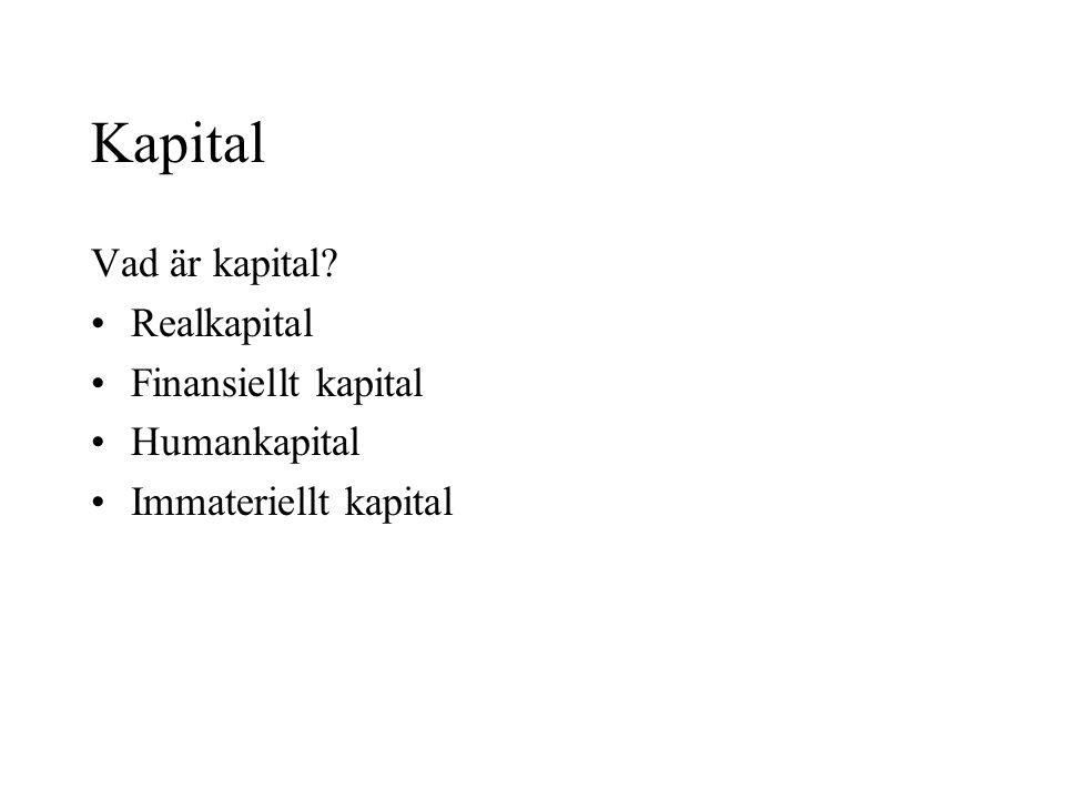 Kapital Vad är kapital Realkapital Finansiellt kapital Humankapital