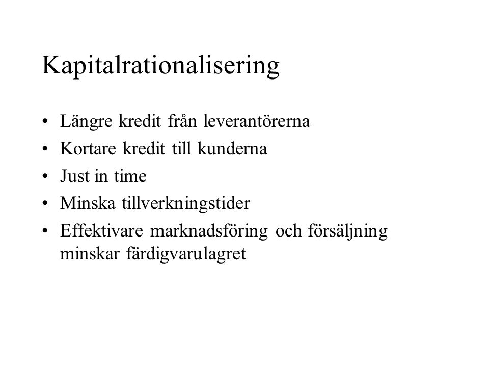 Kapitalrationalisering