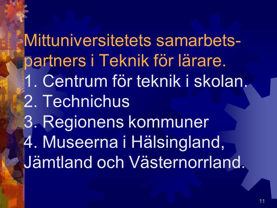 Mittuniversitetets samarbets-partners i Teknik för lärare. 1