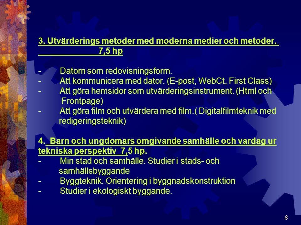 3. Utvärderings metoder med moderna medier och metoder