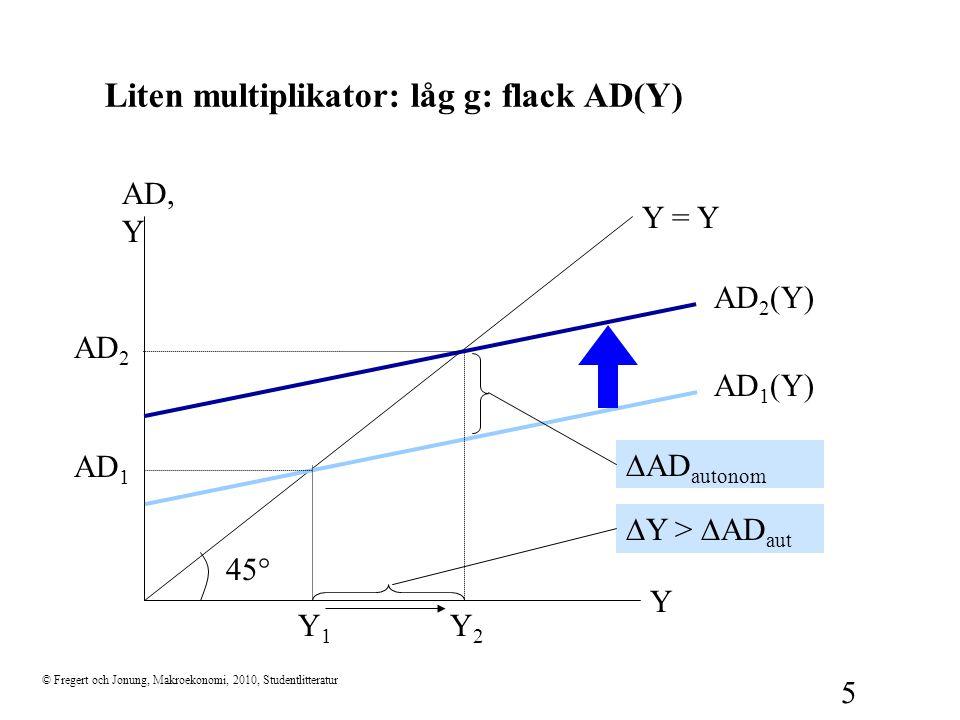 Liten multiplikator: låg g: flack AD(Y)