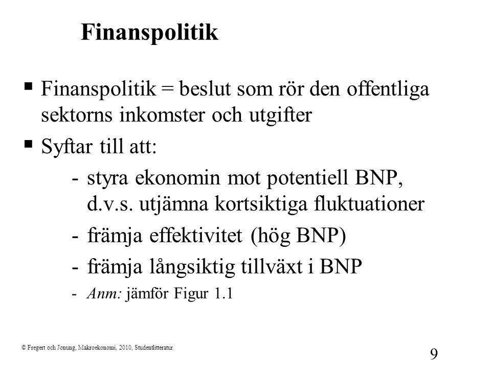 Finanspolitik Finanspolitik = beslut som rör den offentliga sektorns inkomster och utgifter. Syftar till att: