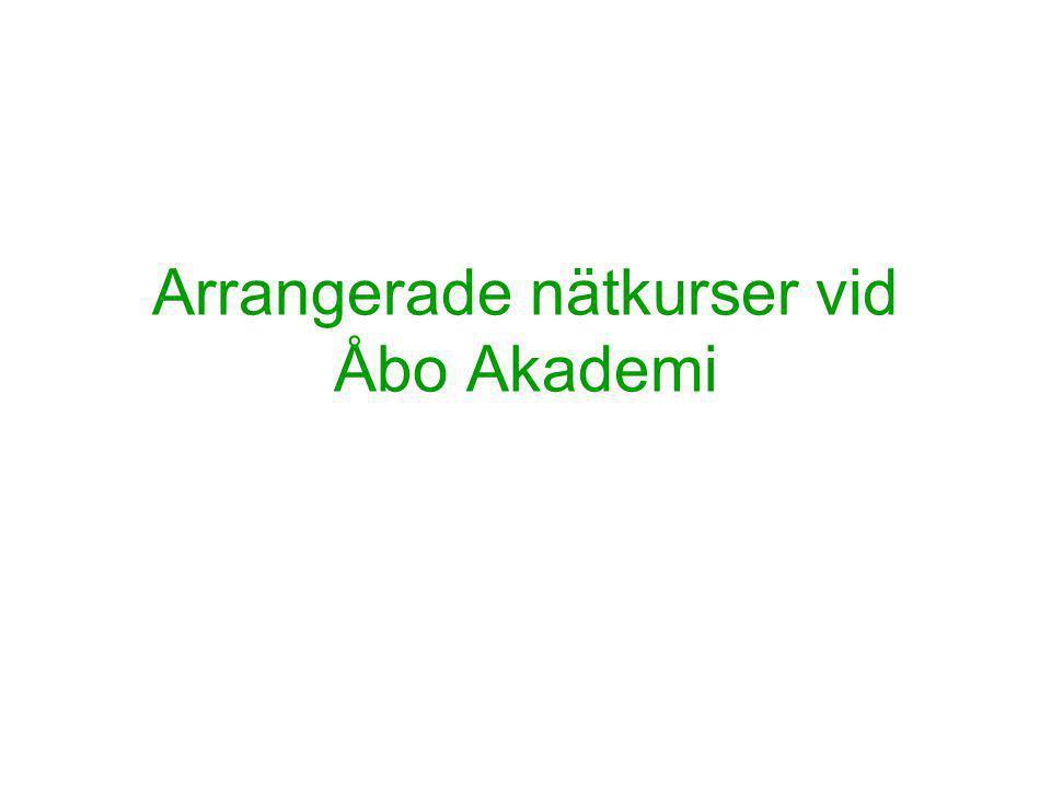 Arrangerade nätkurser vid Åbo Akademi