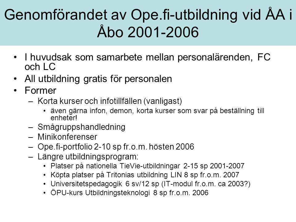 Genomförandet av Ope.fi-utbildning vid ÅA i Åbo 2001-2006