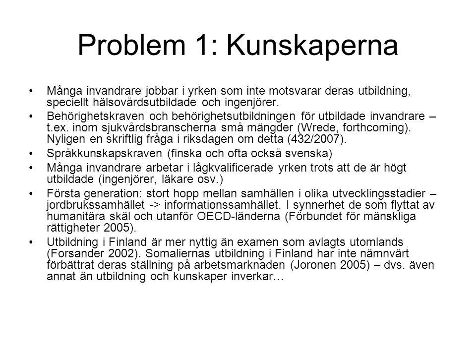 Problem 1: Kunskaperna Många invandrare jobbar i yrken som inte motsvarar deras utbildning, speciellt hälsovårdsutbildade och ingenjörer.
