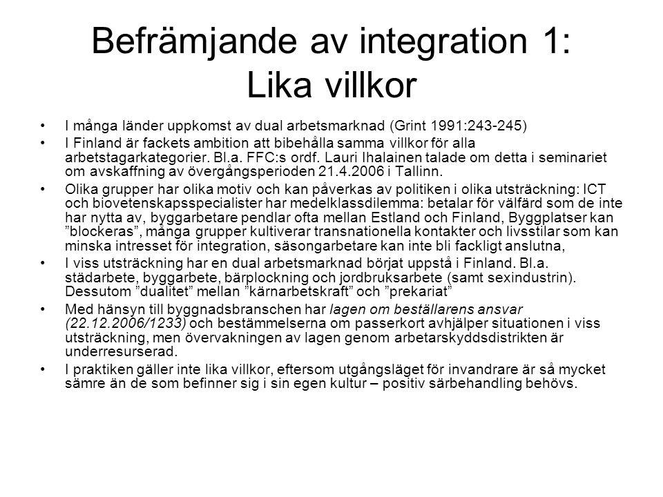 Befrämjande av integration 1: Lika villkor