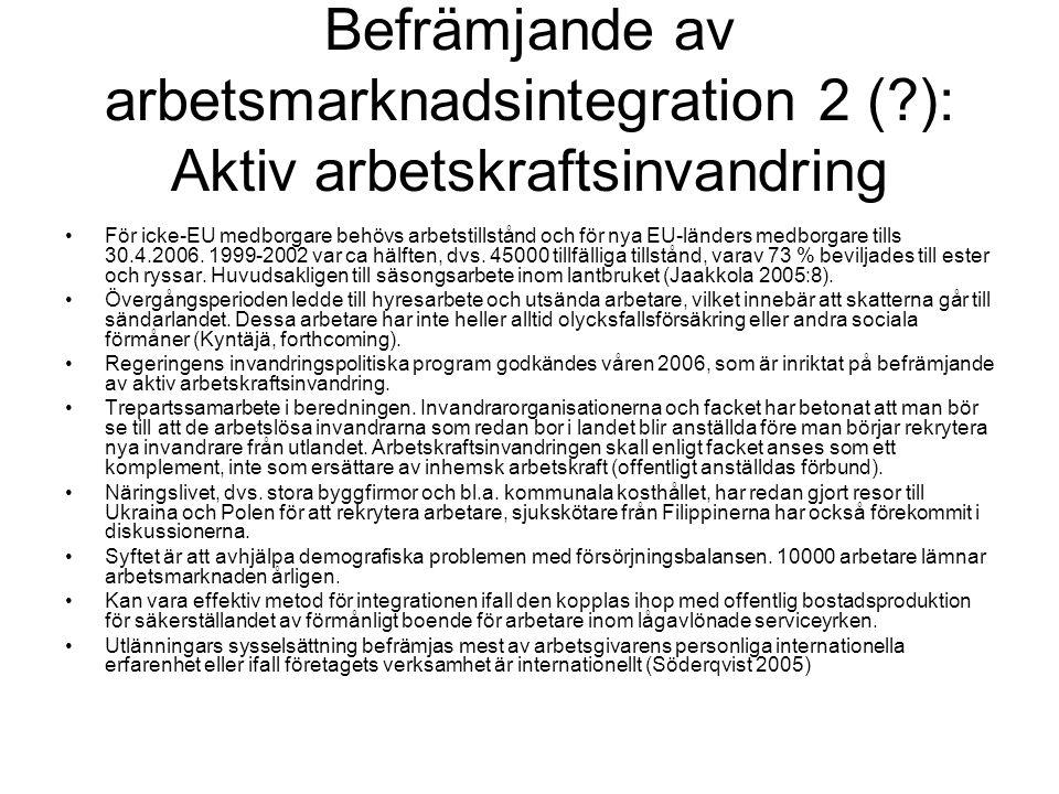 Befrämjande av arbetsmarknadsintegration 2 (