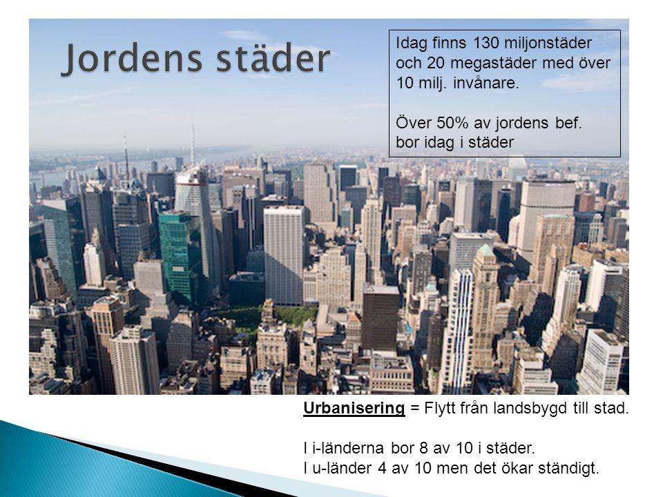 Jordens städer Idag finns 130 miljonstäder och 20 megastäder med över