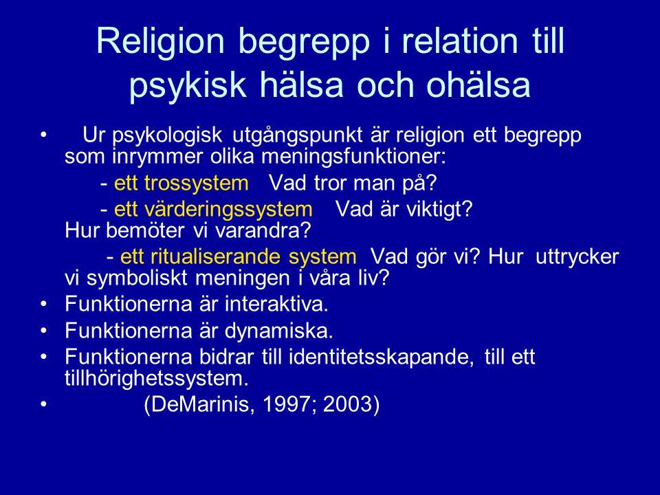 Religion begrepp i relation till psykisk hälsa och ohälsa