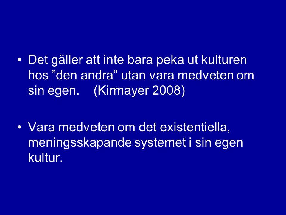 Det gäller att inte bara peka ut kulturen hos den andra utan vara medveten om sin egen. (Kirmayer 2008)