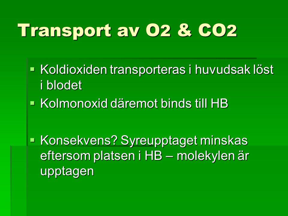 Transport av O2 & CO2 Koldioxiden transporteras i huvudsak löst i blodet. Kolmonoxid däremot binds till HB.