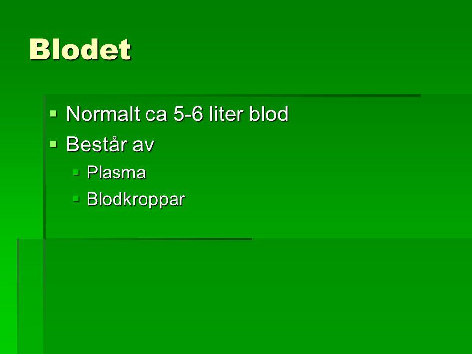 Blodet Normalt ca 5-6 liter blod Består av Plasma Blodkroppar